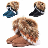 US Women's Winter Casual Warm Suede Faux Fox Fur Short Snow Boots Platform Shoes
