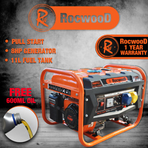 Petrol Generator Portable 2800W RocwooD 4 Stroke 110v 8HP Recoil Start FREE Oil