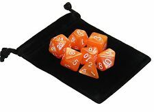 New 7 Piece Polyhedral Pearlescent Danger Zone Orange Dice Set With Bag D&D RPG