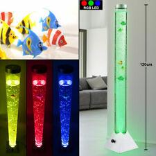Design LED Steh Sprudel Säule Wasser Leuchte Farbwechsel 5 Deko Fische Schalter