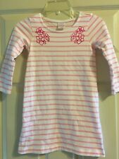 Hanna Andersson Pink and White Striped Dress Girls Size 100 4