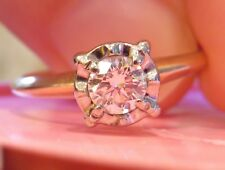 14K ANTIQUE VINTAGE ART DECO FLORAL DIAMOND SOLITAIRE ENGAGEMENT WEDDING RING