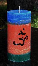 200hr OM SYMBOL Hand Poured & Painted MEDITATION CRYSTAL CANDLE Buddist Orange