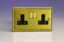 Varilight 2-Gang 13A Double Pole Switched Plug Socket with Metal Rockers Georgia