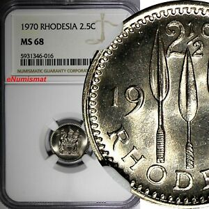 Rhodesia Zimbabwe Copper-Nickel 1970 2-1/2 Cents NGC MS68 GEM BU KM# 11 (016)