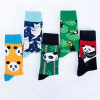 Men's Socks Colorful Painting Animal Crew Print Funny Casual Cotton Fruit