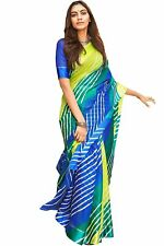Handmade Indian Women's Kora Silk Saree With Unstitched Blouse Piece multicolour