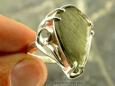 MOLDAVITE polished RING SILVER.925 - US 7 1/4 - 31.5ct #RING604