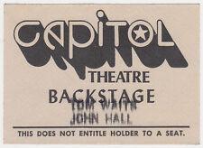 TOM WAITS, JOHN HALL Unused 1980 Concert Backstage Pass