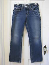 Guess Whiskered Blue Jeans Girls SZ 14 29 Waist Button Flap Embroidered Pockets