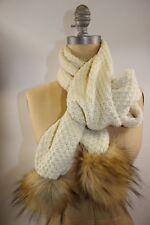 NWT RALPH LAUREN 76x7 Women's Cream Waffle Knit Faux Fur POM POM Winter Scarf