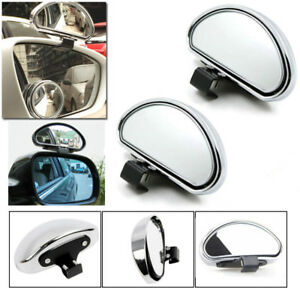 2pcs Chrome HD Car Van Adjustable View Blind Spot Wide Angle Rear Mirror #080