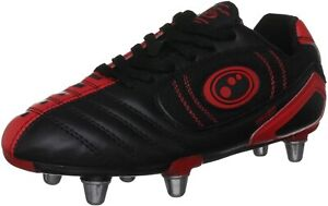 Optimum Velocity Mens Rugby Boots Black Red SG