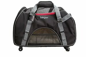 Bergan LARGE WHEELED Comfort Carrier for small Pets, Dog or Cat, Black / Gray