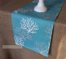 Aqua Turquoise Spa Blue Table Runner Coral Reef Nautical Coastal Decor Linens