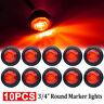 "10X Mini 3/4"" Round Side 3LED Marker Trailer Car Bullet Light Waterproof Red 12V"