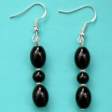 Black Agate Gemstone Drop Earrings with Sterling Silver Hooks New Pair LB74