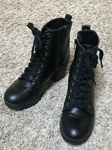 Big Buddha Black Lace-up/Side Zip Ankle Combat Boots Women's Size 8