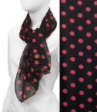 Scarf Black Fuchsia Polka Dots Chiffon Wrap Soft Lightweight Fashion Accessory