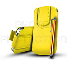 BUTTON LEATHER PULL TAB CASE COVER POUCH & FREE STYLUS FOR VARIOUS HANDSETS