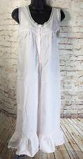 Elise Stevens Women's Vintage Pink Prairie Ruffle Lace Cotton Nightgown Size S