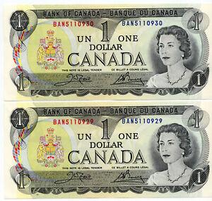 Bank of Canada 1973 $1 One Dollar Crow-Bouey BAN Prefix Consecutive Pair UNC