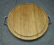"""Wood Bamboo Round Double Sided Heavy 17"""" Cutting Board w Metal Band & Handles"""
