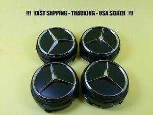 Raised Black Center Cap For Mercedes Benz ML S E C GL GLK Wheel Hub Caps 75