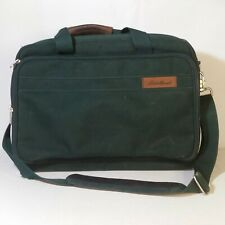 Eddie Bauer Canvas Messenger Bag Forest Green Brown Leather Laptop Carryon Trave