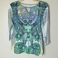 Women's Top Size Medium 3/4 Sleeves Bling Front Paisley Casual White Blue Green