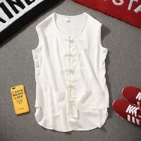 Summer Retro Men's Loose Cotton Linen Vest T-shirts Sleeveless Shirt Waistcoat
