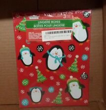 "New 3 Pack Christmas Holiday Lingerie Boxes 10"" X 7"" X 1"" Tree Stocking Ball Nip"