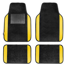 Carpet Floor Mats With Yellow Trim Fit Most Car, Truck, Suv, or Van