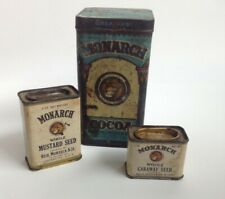 Vintage Antique *Lot of 3* MONARCH Cocoa Mustard Caraway Seed Tins