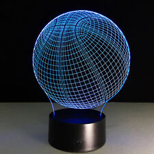 3D USB Line LED Basketball Light Lamp Illusion Night 7 Color Changing Gifts