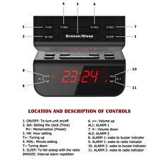 Digital FM Alarm Clock Radio with Dual Alarm Snooze Sleep Time Function Black