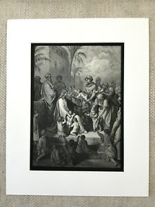 1870 Jesus Christ Blessing the Children Old Bible Gustave Dore Antique Print