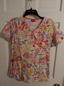 Dickies Colorful Flowers Watercolor Ladies Scrub Top w/Orange Piping sz XL