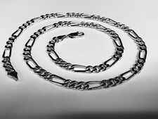 "10k Solid White Gold Figaro Curb link men's Chain Necklace 20"" 49 Grams 7 MM"