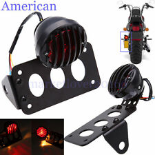 Black Side Mount License Plate Tail Light Holder For Chopper Bobber Cafe Racer