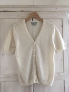 Pure Collection White Cardigan 100% Cashmere Short Sleeve V-neck Size 12
