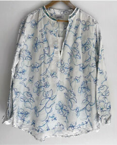 ADRIFT beautiful Embroidered Linen Shirt Blouse Top Size XL BNWT
