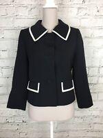 HOBBS Wool Navy Cream Trim Button 3/4 Sleeve Smart Blazer Jacket Size 10