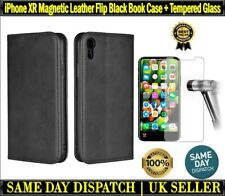 iPhone XR Magnetic Leather Black Book Case Cover Card Wallet + Screen Protector