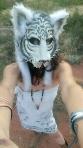 Arts Myths Handmade White Tiger Leather Mask With Faux Fur Headdress