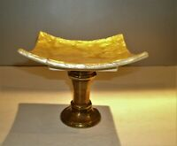 """VTG Mother of Pearl on Ceramic Square Compote Solid Brass Pedestal. 6"""" t x 7""""sq"""