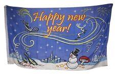 3x5 Happy New Year Winter Snow Snowman Wine Shroom Rough Tex Knitted Flag 3'x5'