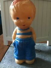 Vintage 7� Rubber Boy Doll In Blue Hands In Pockets Squeaker works!