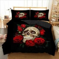 Gothic Skull Bedding Set Red Rose Duvet Cover Pillow Cases Quilt Cover All Sizes