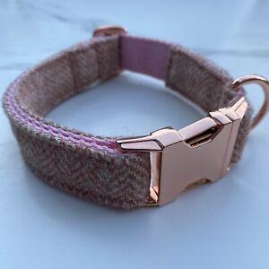 Blush Pink Tweed Dog Collar Herringbone Rose Gold Metal Buckle Countrywear